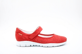 CAMALEON K100674 YELINA PERF:NUBUCK/ROUGE/NEW/CUIR/GOMME