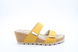 CHAUSSETTE F ADELINA:NUBUCK/JAUNE/NEW/CUIR/GOMME