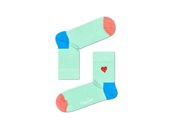 Happy socks chaussettes chaussettes crew embroidery heart multi
